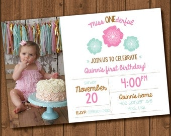 Miss ONEderful first birthday invite file with photo