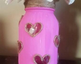 Mason jar decor, Mason jars, Mason Jar, heart jar, valentines day mason jar, valentines day decor, heart mason jar