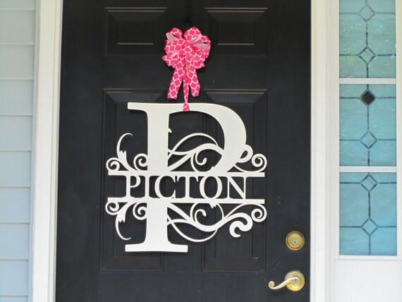 Monogram Wreath Front Door Wreath Monogram Door Wreath