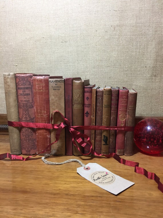 Rustic RED and BROWN Vintage Book Collection - Old Books Decoration - Foot Long 11-13 Shelf Staging - TAN Home Decor - Custom Sourced Books