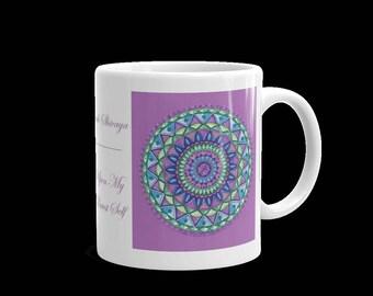 Purple Om Namah Shivaya Mandala Mug Original Design with Sanskrit Words and Meanings