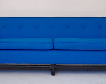 Gorgeous Original Mid-Century Modern Sofa Couch Reupholstered in Maharam Fabric - Unique Lines & Design!