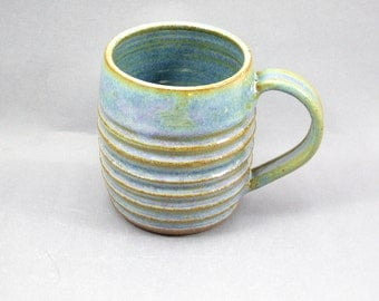 Pottery Coffee Mug Rutile Blue CHUN45