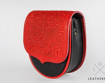 Leather purse embossed, ethnic purse, mini purse, red bag, Leather bag, tooled leather bag, small crossbody bag, shoulder bag,