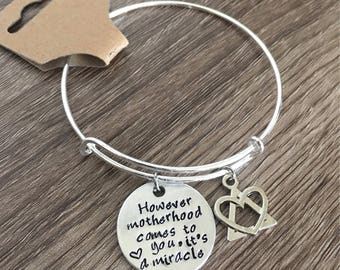 Adoption bracelet / hand stamped bangle / Motherhood jewelry / Adoption charm / Adoption symbol / Adoption gift for mother / adoptive mother