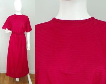Vintage 70s Red Maxi Ribbed Dress Size Small/Medium, Long Dress, Lightweight Dress, Lounge Dress, Ribbed Dress, Short Sleeve Dress, Red