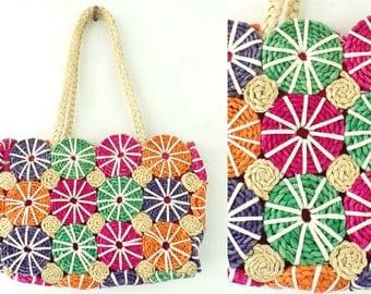Colorful Straw Purse Circle Print Bag Multicolor Summer Purse, Beach Purse, Multicolored Straw Tote, Shoulder Bag, Circle Print 90s Purse