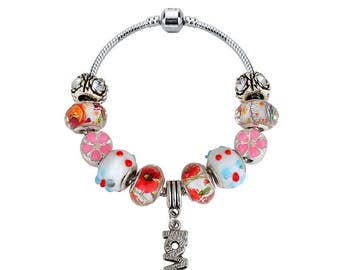 Charm Bracelet made with Swiss Crystals [Blue] FREE SHIPPING!