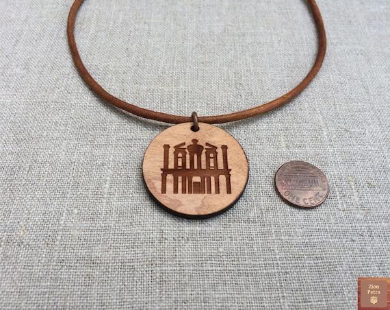 The Treasury Al-Khazneh Petra Kadesh-Barnea Carved Choker Pendant—Recycled Cherry Wood & Chemical-Free Hazelnut-Brown Leather