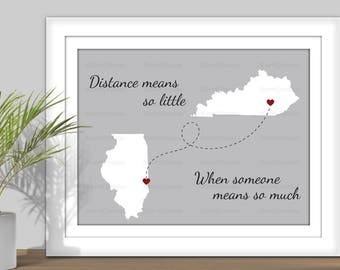 State Map Art, Distance Means So Little When Someone Means So Much- Hearts over City. PRINTABLE. Digital State Art. Countries Map Art
