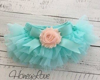 Mint/Aqua tutu skirt bloomers diaper cover embellished peach shabby flower, ruffles all around, newborn infant toddler little baby girl
