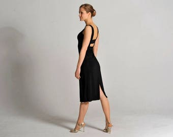 OLIVIA classic black Tango dress with lace detail and slit - sizes XS/S/M