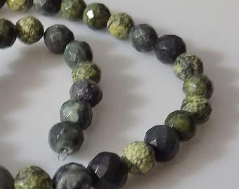 "Natural 5-6mm Faceted Round Serpentine Gemstone Beads (8"" Strand)"