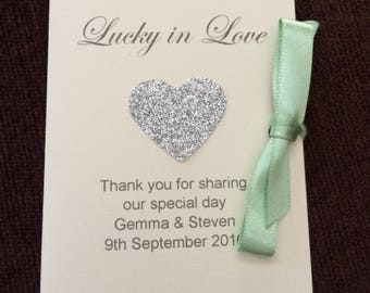 Scratch card holders wedding favour hearts and butterflies ribbon tied lucky in love glitter