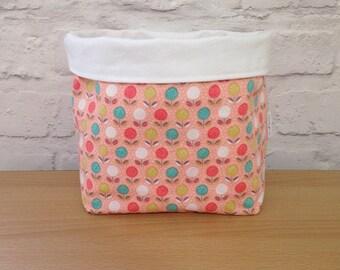 Large flower fabric basket, fabric storage basket, home storage, nursery storage, fabric organiser