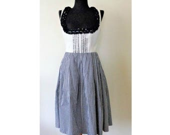 German Dirndl Dress, Black White Checkered Dirndl Dress, Octoberfest Dress, Bavarian Folk Dress, Size 38/ US 8