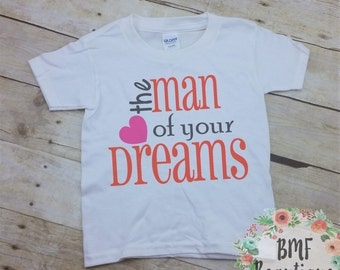 The Man of your Dreams Short Sleeve Valentine's Day Toddler Boy Shirt, Toddler Valentine Shirt, Cute Boy Valentine Tee Shirt, Boy Heart Tee
