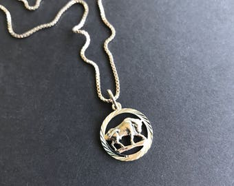 """Sterling silver taurus pendant 18"""" chain necklace vintage zodiac sign collectible gift april may birthday"""