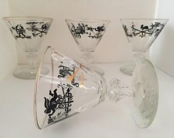 Mid century Libbey martini glasses - set of 4
