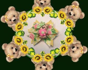 Pink Sunflower Teddy Bear Bow
