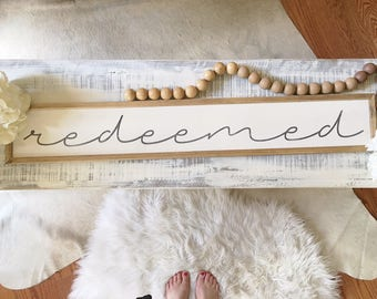 Redeemed, 6x36 Handmade Wood Sign with Standard Frame