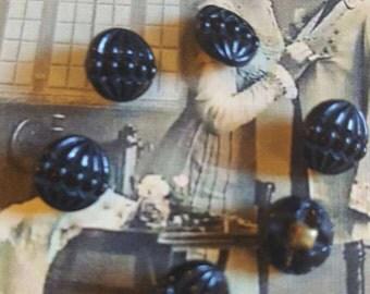 Antique tiny Jet Buttons set of 6 four way brass shank 7mm