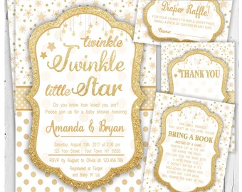Twinkle Twinkle Little Star Baby Shower Invitation / Girl Baby Shower Invitation / Boy Baby Shower Invitation / Baby Shower