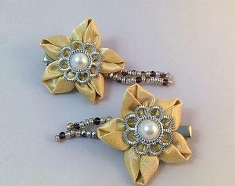 Silk fabric pair of hair clips