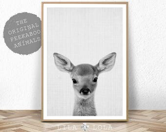 Baby Deer Print, Woodland Animal, Nursery Decor, Printable Digital Download, Forest Animals, Black and White, Large Poster