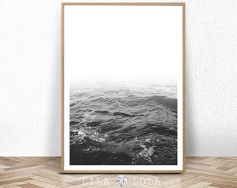 Ocean Water Waves, Black and White Photography, Beach Coastal Art Print, Large Printable Poster, Digital Download, Modern Minimalist