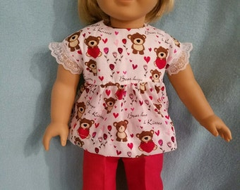 """Dixie-crafted Teddy Bear Hugs Pants outfit to fit 18"""" Dolls including those from the American Girl Doll Clothes Company"""