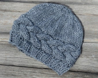 SALE!  Ready to Ship!  6-12 Month Knit Baby Beanie, Gray Horizontal Cable Hat, Knit Baby Hat, Photo Prop, Gift
