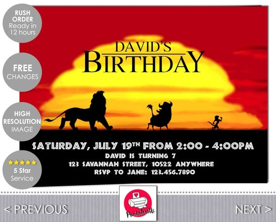 Lion King Birthday Invitation - The Lion King Invite - Digital Disney Party Invitations - Simba, Pumba and Timon - by Printadorable