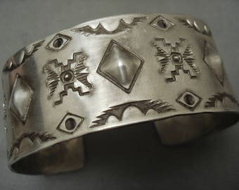 Extremely Detailed Expert Stamp Vintage Navajo Silver Bracelet