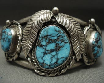 Intense And Eye Catching Vintage Navajo Tight Spider Matrix Silver Bracelet