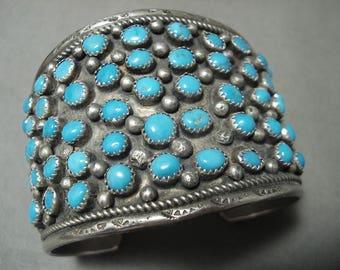 Opulent 'Snake Eyes Turquoise' Vintage Navajo Silver Bracelet