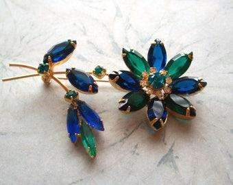 "Vintage Dark Green and Blue Rhinestone Brooch,2"" BY 3"",flower,rhinestones,gold tone,pin,greens,blues,cobalt"