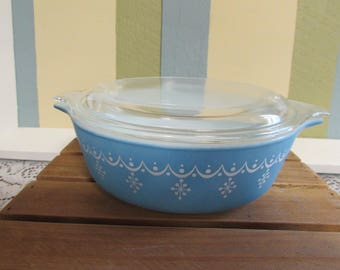 Small casserole Pyrex snowflake Garland VINTAGE casserole No. 471 and no. 470 and snow