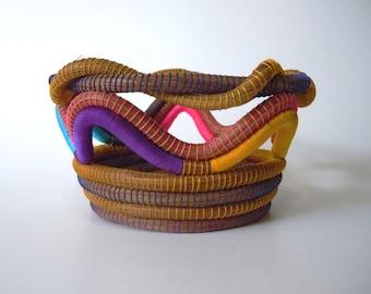 Weaved Basket, Pine Needle Basket Multicolor, Hand-woven Basket,Home Decor,Rustic Basket,Home Decoration,Home Art,Pine Bowl,Bowl,Rustic Bowl