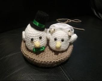 Handmade Crochet Love Birds - Birds in Nest - Cute - Wedding Gift - Bride and Groom - Amigurumi