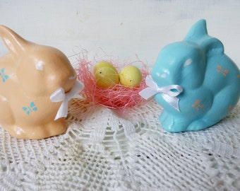 Easter gift Set of easter bunny with eggs Easter décor Ceramic bunny Holiday home décor Spring décor Easter ornament Easter decorations