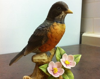 Vintage Bird Figurine - Stamped Robin byAndrea 9386 - Porcelain Red Robin Ornament - Cabinet Piece - Gift for Collector