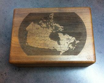 Vintage Cigarette Box - Benson & Hedges Wooden Case - Map of Canada Decorated Lid - Tobacciana Collectors