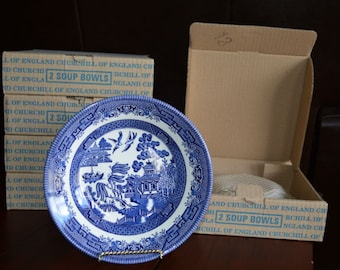 Churchill Blue Willow Soup Bowls in Boxes - Set of 12