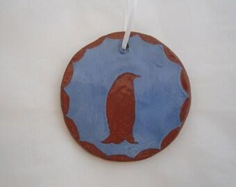 Blue Ceramic Penguin Ornament