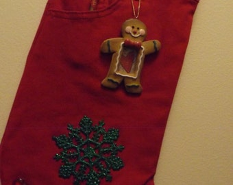Candy canes and ginger bread men stocking