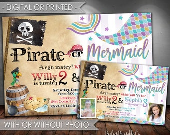 Pirate or Mermaid Invitation, Pirate or Mermaid Birthday Invitation, Mermaid Invitation, Pirate Invitation, Digital File or Printed #675
