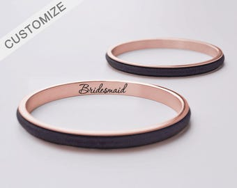 Personalized Hair Tie Bracelet Cuff Engraved Bracelet Bangle Hair Tie Holder Rose Gold Bridesmaid Gift Mother's Day Gift For Her