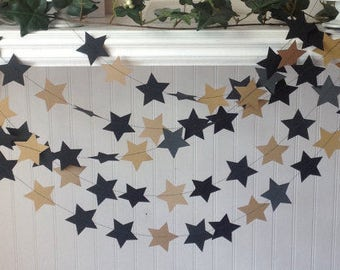 Black and Gold Star garland, Birthday Party Decoration, Paper Garland,  Wedding Garland. 12' long star garland.