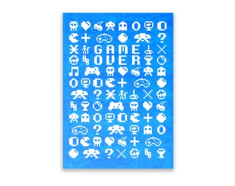 Notepad - 8 Bit Pattern, Stationery, Recycled Paper, Game Over,  Lined Writing, Digitally Illustrated